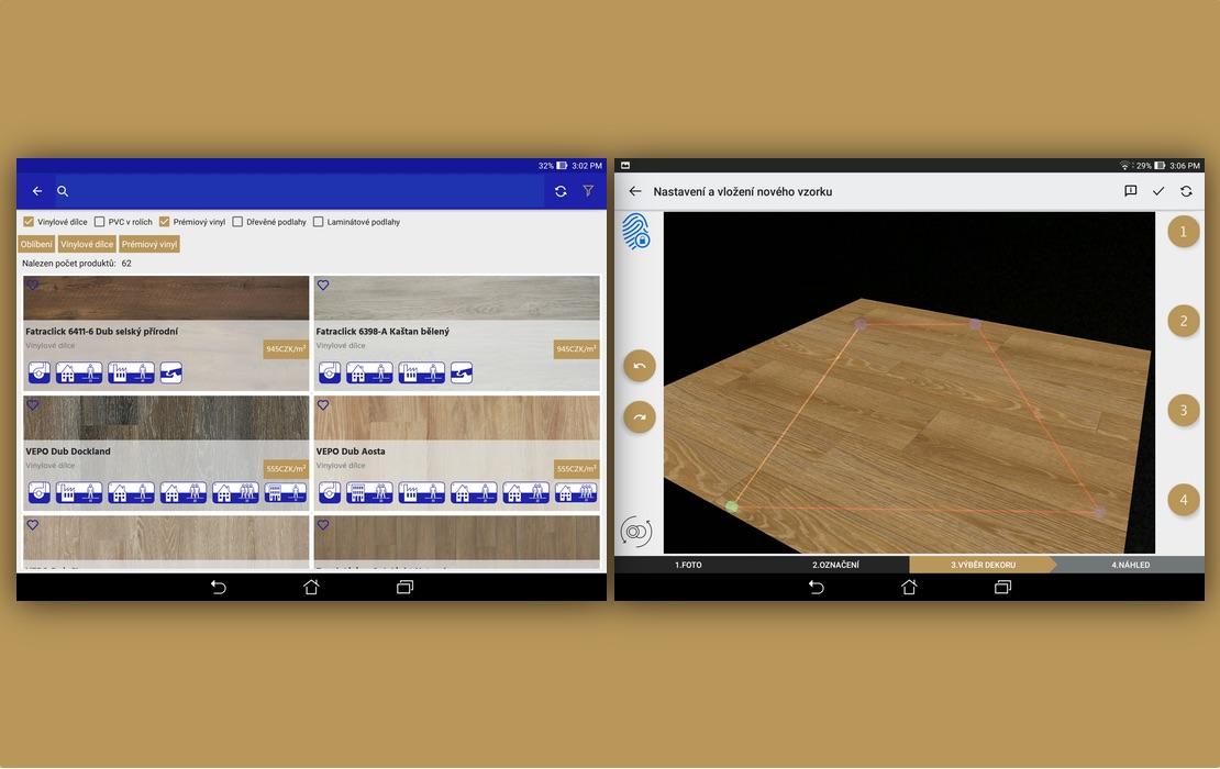 mobilna aplikacia vizualizovanie podlah